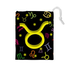 Taurus Floating Zodiac Sign Drawstring Pouches (large)  by theimagezone