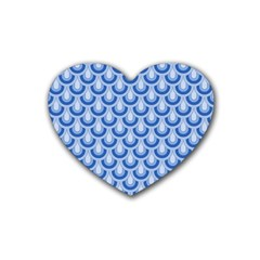 Awesome Retro Pattern Blue Heart Coaster (4 Pack)  by ImpressiveMoments