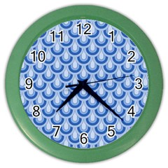 Awesome Retro Pattern Blue Color Wall Clocks by ImpressiveMoments