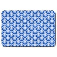 Awesome Retro Pattern Blue Large Doormat  by ImpressiveMoments