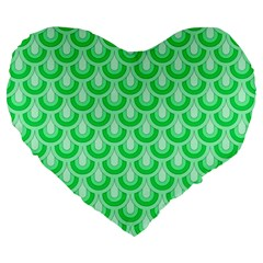 Awesome Retro Pattern Green Large 19  Premium Heart Shape Cushions by ImpressiveMoments