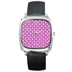Awesome Retro Pattern Lilac Square Metal Watches by ImpressiveMoments