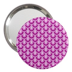 Awesome Retro Pattern Lilac 3  Handbag Mirrors by ImpressiveMoments