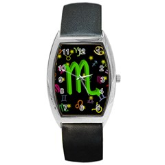 Scorpio Floating Zodiac Sign Barrel Metal Watches by theimagezone