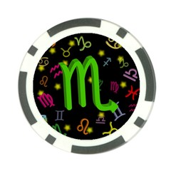 Scorpio Floating Zodiac Sign Poker Chip Card Guards by theimagezone