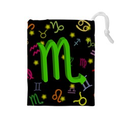 Scorpio Floating Zodiac Sign Drawstring Pouches (large)  by theimagezone