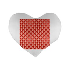 Awesome Retro Pattern Red Standard 16  Premium Flano Heart Shape Cushions by ImpressiveMoments