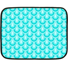 Awesome Retro Pattern Turquoise Fleece Blanket (mini) by ImpressiveMoments