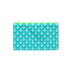 Awesome Retro Pattern Turquoise Cosmetic Bag (XS) by ImpressiveMoments
