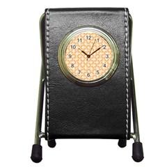 Retro Mirror Pattern Peach Pen Holder Desk Clocks by ImpressiveMoments