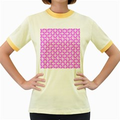 Retro Mirror Pattern Pink Women s Fitted Ringer T-Shirts by ImpressiveMoments
