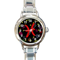 Pisces Floating Zodiac Sign Round Italian Charm Watches by theimagezone