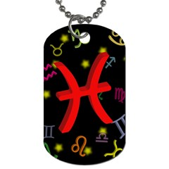 Pisces Floating Zodiac Sign Dog Tag (two Sides) by theimagezone