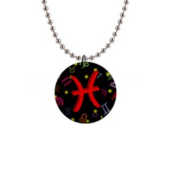 Pisces Floating Zodiac Sign Button Necklaces by theimagezone