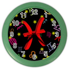 Pisces Floating Zodiac Sign Color Wall Clocks by theimagezone