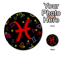 Pisces Floating Zodiac Sign Multi Purpose Cards (round)  by theimagezone