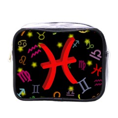 Pisces Floating Zodiac Sign Mini Toiletries Bags by theimagezone