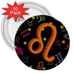 Leo Floating Zodiac Sign 3  Buttons (10 Pack)  by theimagezone