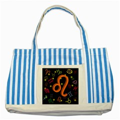 Leo Floating Zodiac Sign Striped Blue Tote Bag  by theimagezone