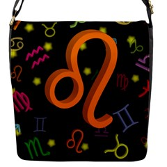 Leo Floating Zodiac Sign Flap Messenger Bag (S) by theimagezone