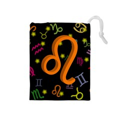 Leo Floating Zodiac Sign Drawstring Pouches (medium)  by theimagezone