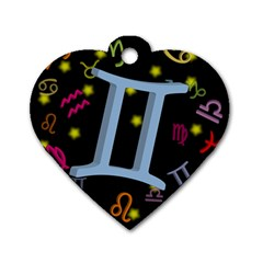 Gemini Floating Zodiac Sign Dog Tag Heart (one Side) by theimagezone