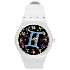 Gemini Floating Zodiac Sign Round Plastic Sport Watch (m) by theimagezone