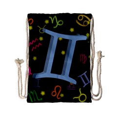 Gemini Floating Zodiac Sign Drawstring Bag (Small) by theimagezone