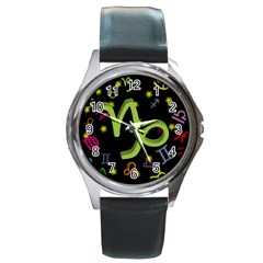 Capricorn Floating Zodiac Sign Round Metal Watches by theimagezone
