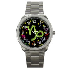 Capricorn Floating Zodiac Sign Sport Metal Watches by theimagezone