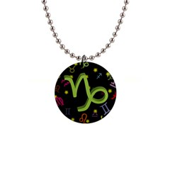 Capricorn Floating Zodiac Sign Button Necklaces by theimagezone