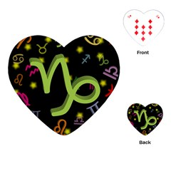 Capricorn Floating Zodiac Sign Playing Cards (heart)  by theimagezone