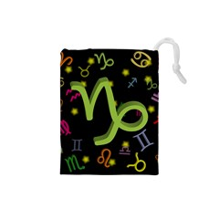 Capricorn Floating Zodiac Sign Drawstring Pouches (small)  by theimagezone