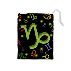 Capricorn Floating Zodiac Sign Drawstring Pouches (medium)  by theimagezone