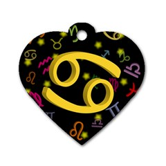 Cancer Floating Zodiac Sign Dog Tag Heart (two Sides) by theimagezone