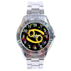 Cancer Floating Zodiac Sign Stainless Steel Men s Watch by theimagezone