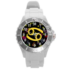 Cancer Floating Zodiac Sign Round Plastic Sport Watch (l) by theimagezone