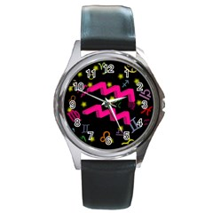 Aquarius Floating Zodiac Sign Round Metal Watches by theimagezone