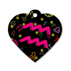 Aquarius Floating Zodiac Sign Dog Tag Heart (one Side) by theimagezone