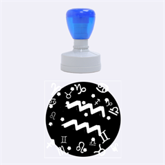 Aquarius Floating Zodiac Sign Rubber Round Stamps (medium) by theimagezone