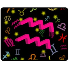 Aquarius Floating Zodiac Sign Double Sided Fleece Blanket (Medium)  by theimagezone