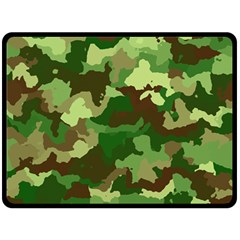 Camouflage Green Double Sided Fleece Blanket (Large)  by MoreColorsinLife