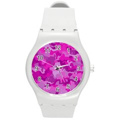 Camouflage Hot Pink Round Plastic Sport Watch (m) by MoreColorsinLife