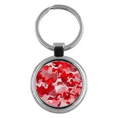 Camouflage Red Key Chains (round)  by MoreColorsinLife