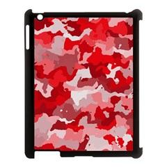 Camouflage Red Apple iPad 3/4 Case (Black) by MoreColorsinLife