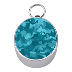 Camouflage Teal Mini Silver Compasses by MoreColorsinLife