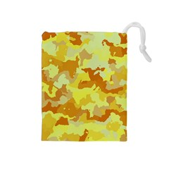Camouflage Yellow Drawstring Pouches (medium)  by MoreColorsinLife