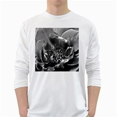 Black And White Rose White Long Sleeve T Shirts by timelessartoncanvas