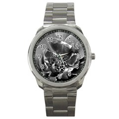 Black And White Rose Sport Metal Watches by timelessartoncanvas