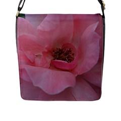 Pink Rose Flap Messenger Bag (L)  by timelessartoncanvas